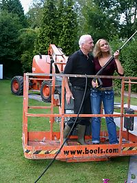 Dirty old senior bangs a teenage hottie in his boom lift