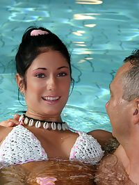Brunette teenage beauty fucked by a horny swim teaching paps