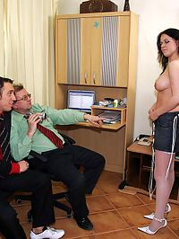 Filthy brunette office slut wants to keep her fucking job