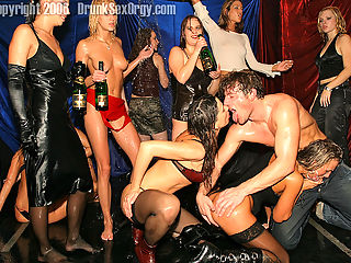 Crazy drunken partygirls sucking and fucking guys on stage