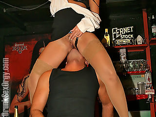 Girl in suspended cage takes a rock hard cock in the snatch