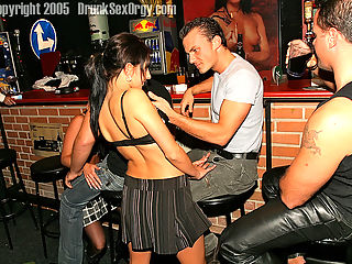 Drunk sweethearts love undressing and fucking hard at a bar