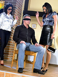 Horny blindfolded dude shagging two willing hotties hard