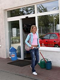 Teenie blonde enjoys pumping gas in the public restroom