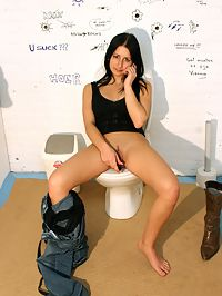 Tiny brunette girl sucking a huge gloryhole erection off