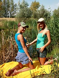 Hot blonde teen girls eating each others wet pussy by a lake