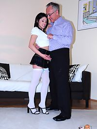 An old senior chap loves banging a sexy british sweetie