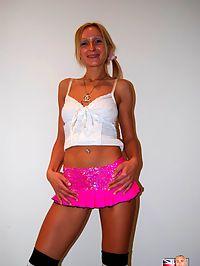 Skinny blonde British slut fucked in her tight arsehole