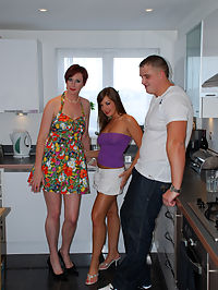 Hot redhead MILF invites a younger couple to have a 3 some