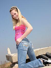 Hot blonde teen cutie fucking her vibrator outside on rocks