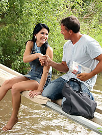 Horny teenager fucked on a bridge by a horny dude outdoors