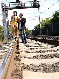 A teenage chick loves daring anal shagging on a railway