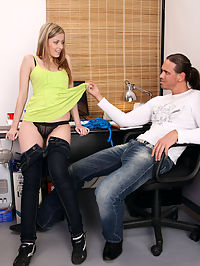 Young and sexy teen secretary fucking and sucking her boss