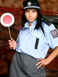 Brunette police girl boned and receives a thick gooey facial