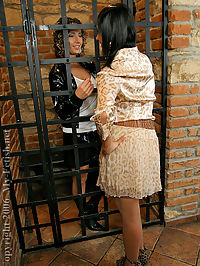 Jail cell lesbians pussy licking and strap on fucking fun