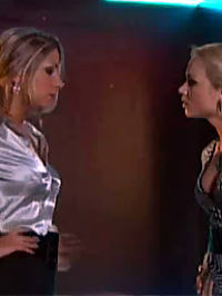 Two hot teenage clothed lesbians fighting eachother hard