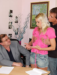 Sexy naked schoolgirl shagged by her two horny teachers