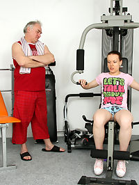 Horny old senior trainer shagging a hot working out chick