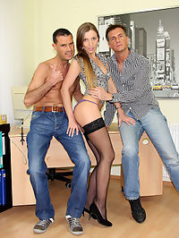 Two horny dudes shagging the hot willing secretary hard