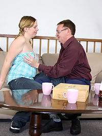 A horny old fart fucks a willing teenage beauty hardcore
