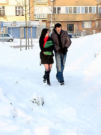 Cute girl loves having sex with a horny senior in the snow