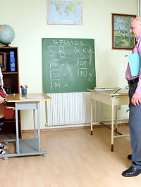Horny teacher enjoys spanking one of his naughty students