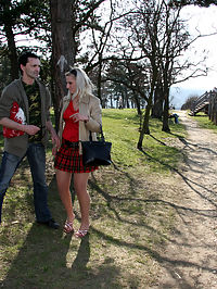 Blonde shagging an very old horny hitchhiker in the woods