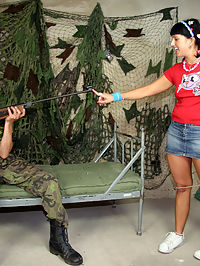 Woman fucking the horny captain in the army for a promotion