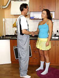 Naughty teenage cutie seduces the senior handyman at work