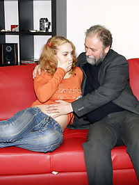 Grey bearded old man gets dirty with a young teenie girl