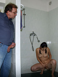 Horny senior janitor spies on a teenage girl in the shower