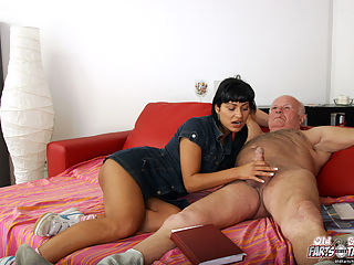 Aged English teacher penetrating his hot willing student