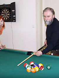 Senior wins pool and earns a tight teenie pussy to fuck