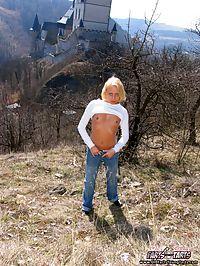 Horny grandpa banging a cute blonde teenage girl outdoor