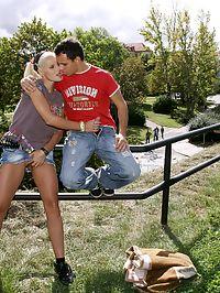 Horny blonde having sex in public with her own boyfriend