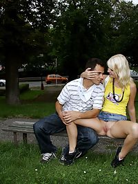 Crazy young blonde teen is having cock fun in public places