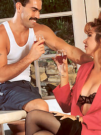 Real retro horny mustache man unloads sperm on her breasts