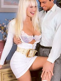A horny and sexy retro blonde banged doggystyle by friend