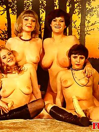 Four hairy seventies ladies sharing their big favorite toys