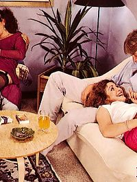 Two seventies ladies sucking off two big erect schlongs