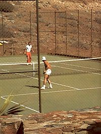 Two seventies ladies get fucked by studs on the tennis court