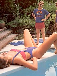 Naughty girl in a hot classic threesome at the poolside