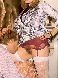 Seventies lady receives a sticky load over her huge tits
