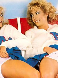 Retro cheerleaders showing how they support the hot team