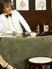 Two hairy seventies ladies giving the waiter all he wants