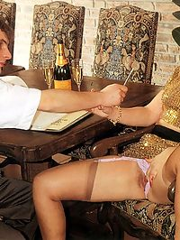 Hairy seventies lady seducing a horny guy at her own work