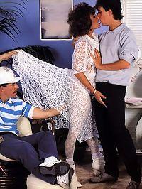 Seventies lady enjoys two big stiffy cocks in her hairy twat