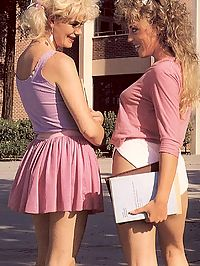 Catching two hairy lesbo retro students in dirty action
