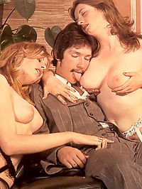 Two big titted eighties ladies fucked by one big horny cock