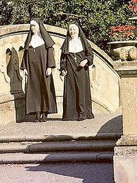 Two slutty retro nuns sharing the gardener his big penis